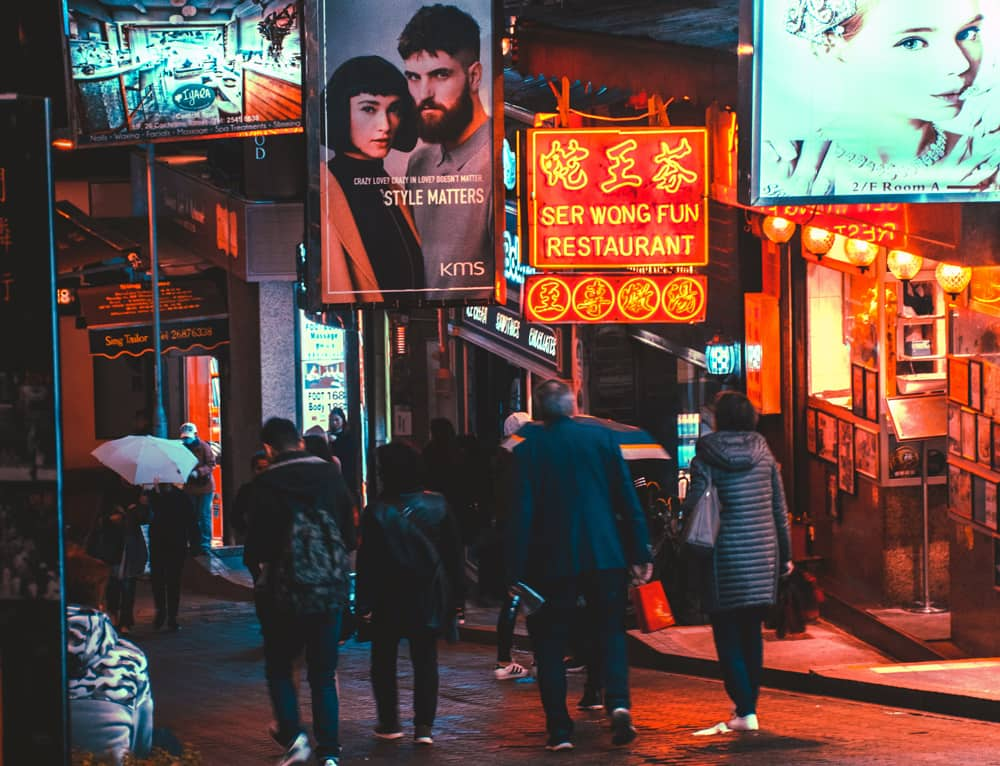Restaurant banners along a street in Asia | The Culture Test